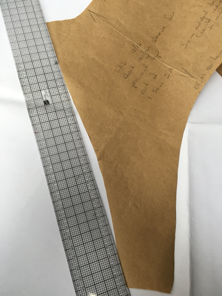 bagginess reduced by shaving a sliver out of the armscye at sleeve and bodice front and back.