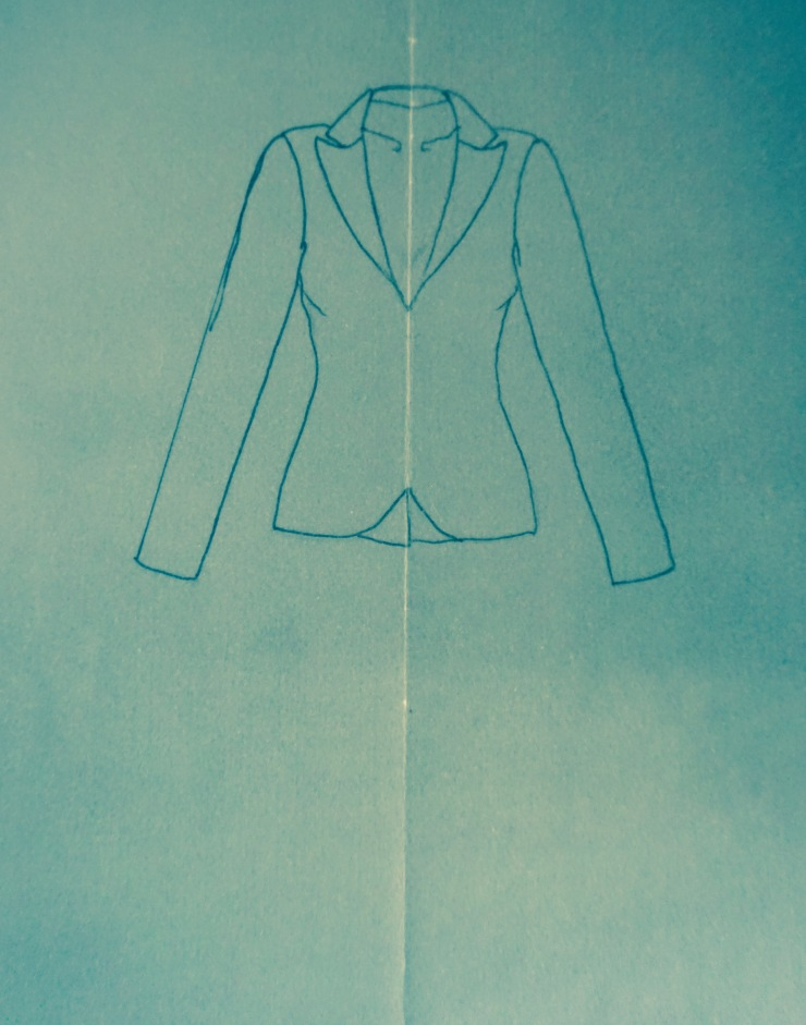 basic jacket shape on tracing parchment