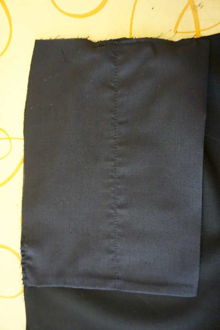 pocket bag with fold and french seamed bottom