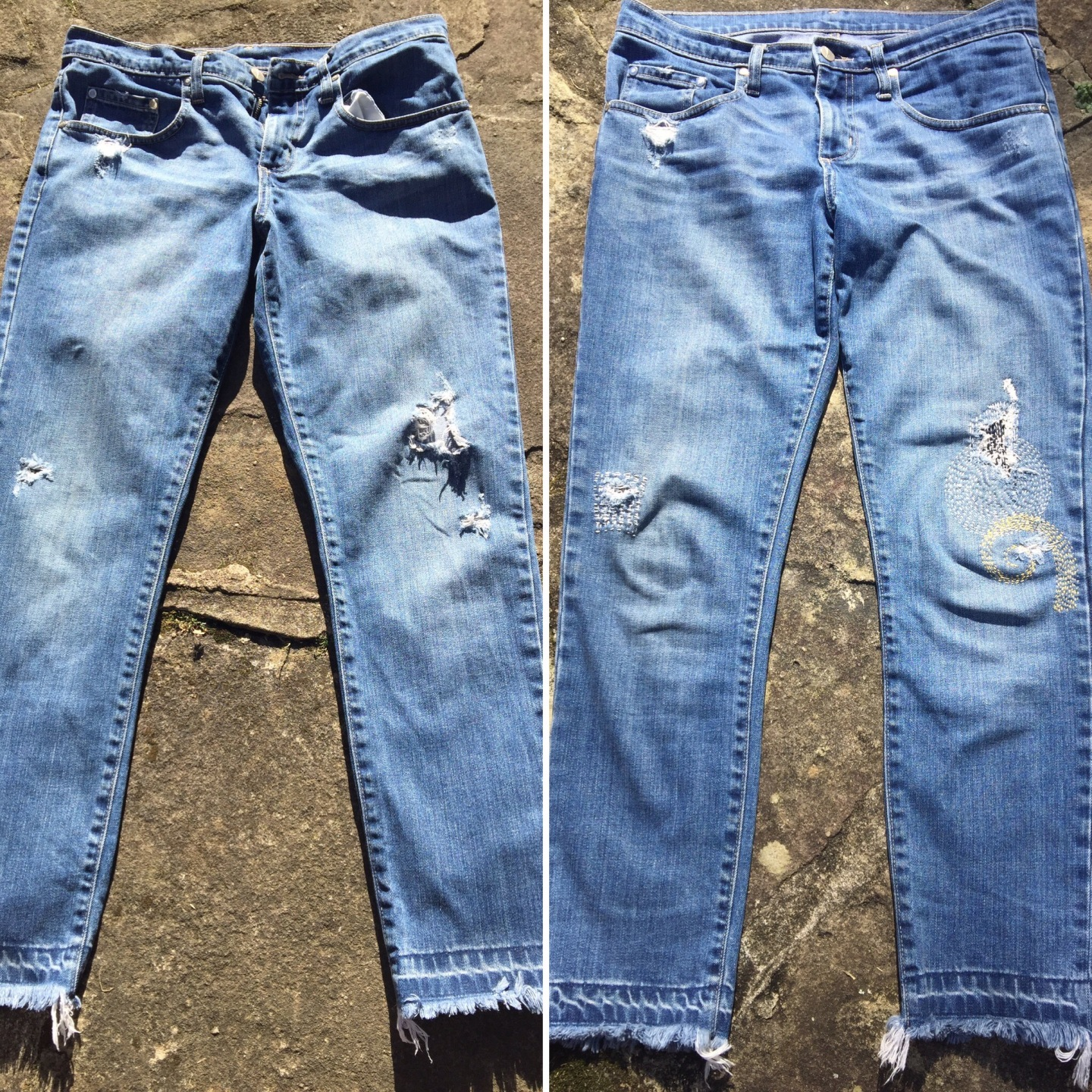 Jeans before and after boro