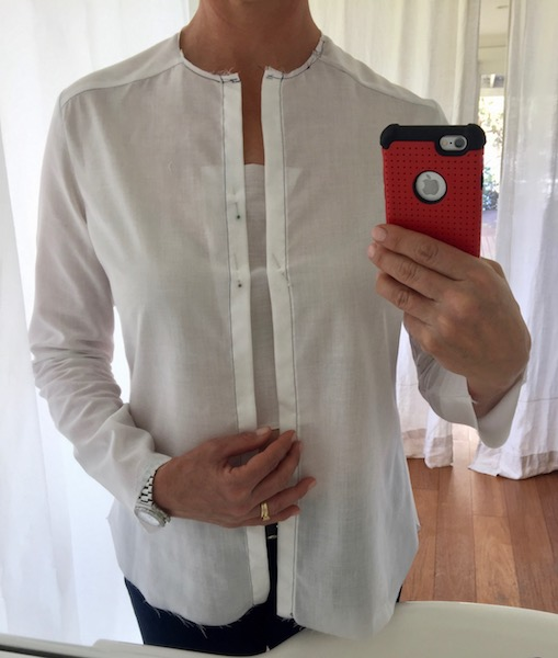 add fabric to centre front shirt